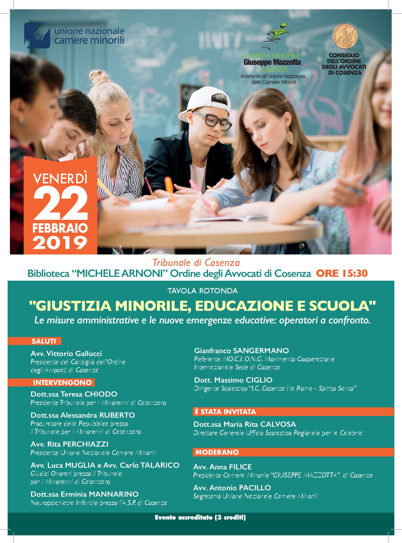 Tavola rotonda 22 Febbraio 2019 Giustizia Minorile, Educazione e Scuola ore 15,30 Biblioteca M. Arnoni Tribunale Cosenza-001